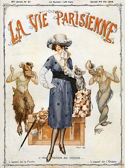 La Vie Parisienne 1919 Au Voyage Cheri Herouard   La Vie Parisienne Erotic Magazine Covers 1910-1939