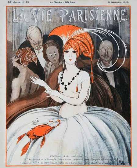 La Vie Parisienne 1919 Communique Mondain Armand Vallee | La Vie Parisienne Erotic Magazine Covers 1910-1939
