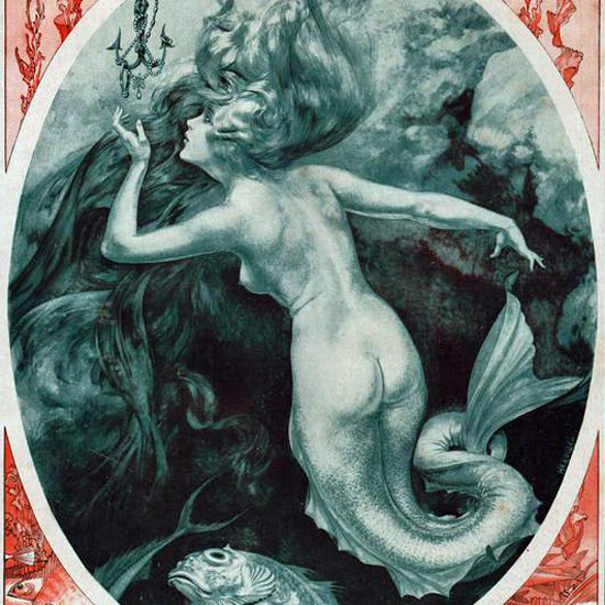La Vie Parisienne 1919 La Peche Aux Sirenes Cheri Herouard crop | Best of Vintage Cover Art 1900-1970