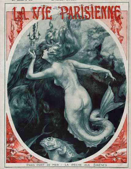 La Vie Parisienne 1919 La Peche Aux Sirenes Cheri Herouard | La Vie Parisienne Erotic Magazine Covers 1910-1939