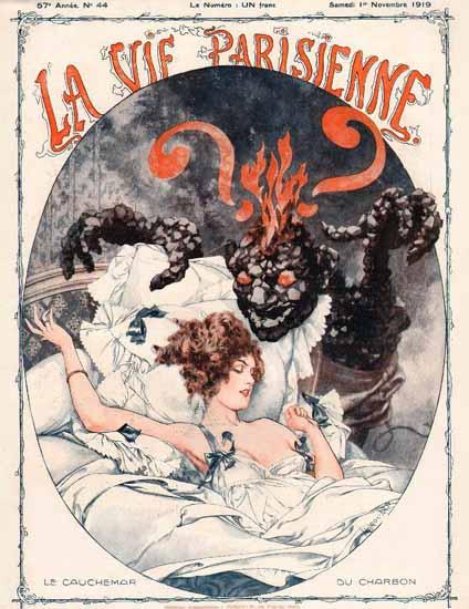 La Vie Parisienne 1919 Le Cauchemar Du Charbon Cheri Herouard | La Vie Parisienne Erotic Magazine Covers 1910-1939