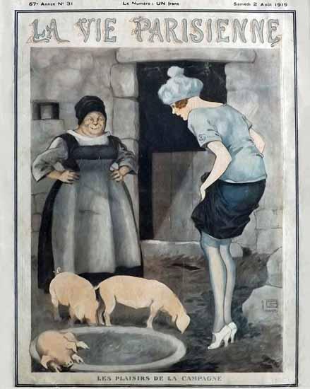La Vie Parisienne 1919 Les Plaisirs De La Campagne Georges Leonnec | La Vie Parisienne Erotic Magazine Covers 1910-1939