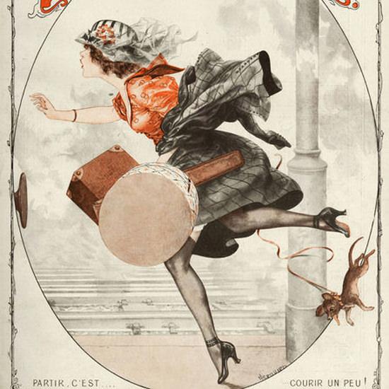 La Vie Parisienne 1919 Partir Courir Un Peu Cheri Herouard crop | Best of Vintage Cover Art 1900-1970
