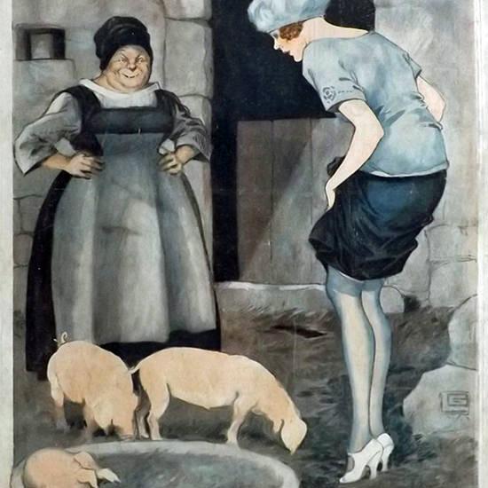 La Vie Parisienne 1919 Plaisirs De La Campagne Georges Leonnec crop | Best of Vintage Cover Art 1900-1970