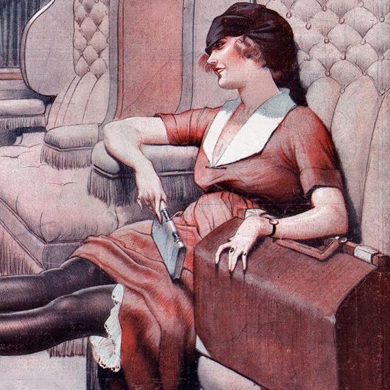 La Vie Parisienne 1921 Attentat En Chemin De Fer Leo Fontan crop B | Best of Vintage Cover Art 1900-1970