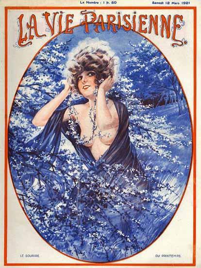 La Vie Parisienne 1921 Le Sourire Du Printemps Maurice Milliere   La Vie Parisienne Erotic Magazine Covers 1910-1939