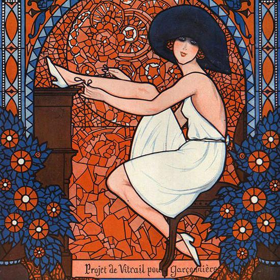 La Vie Parisienne 1921 Projet De Vitrail Armand Vallee crop | Best of 1920s Ad and Cover Art
