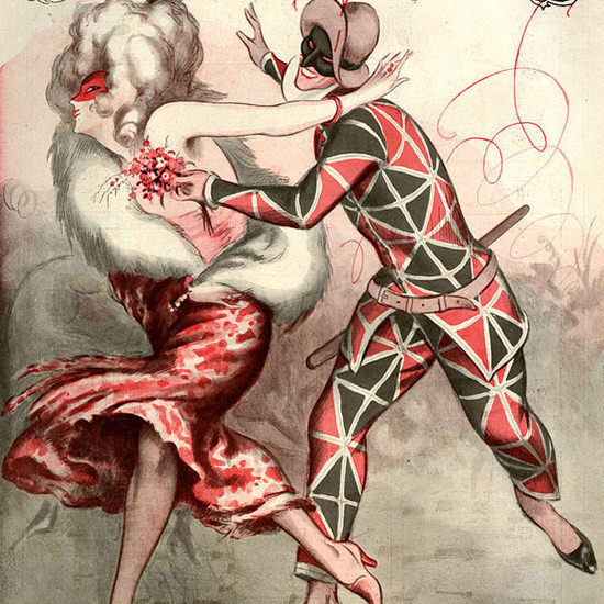 La Vie Parisienne 1925 Buffoon Madrigal Carnaval Armand Vallee crop | Best of Vintage Cover Art 1900-1970