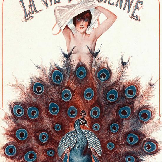 La Vie Parisienne 1925 Le Paon Censeur Georges Leonnec crop | Best of Vintage Cover Art 1900-1970