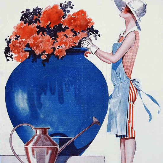 La Vie Parisienne 1926 Jeune Fille En Fleur Georges Leonnec crop | Best of Vintage Cover Art 1900-1970