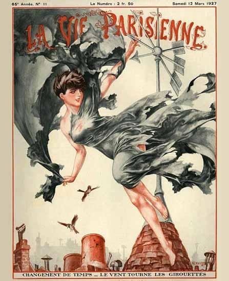 La Vie Parisienne 1927 Changement De Temps Cheri Herouard | La Vie Parisienne Erotic Magazine Covers 1910-1939