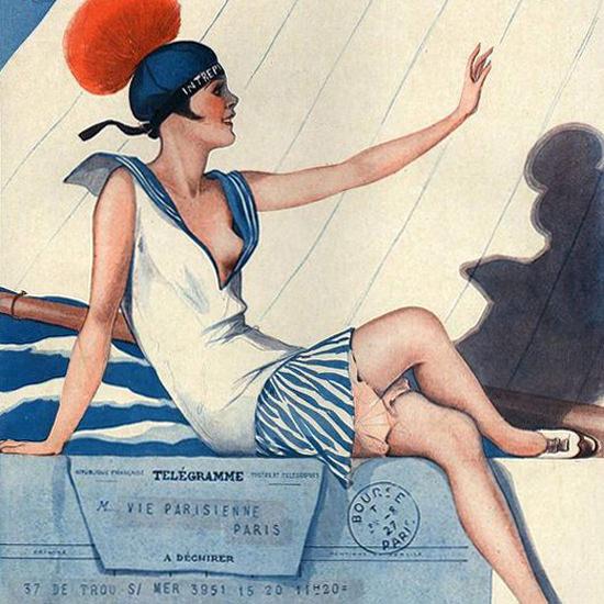 La Vie Parisienne 1927 De Notre Envoye Special Georges Leonnec crop | Best of 1920s Ad and Cover Art