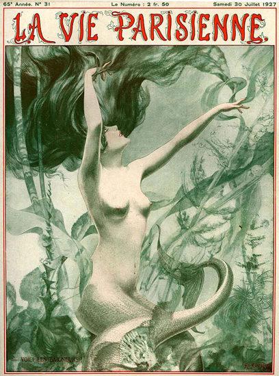 La Vie Parisienne 1927 Mermaid Les Baigneurs | Sex Appeal Vintage Ads and Covers 1891-1970