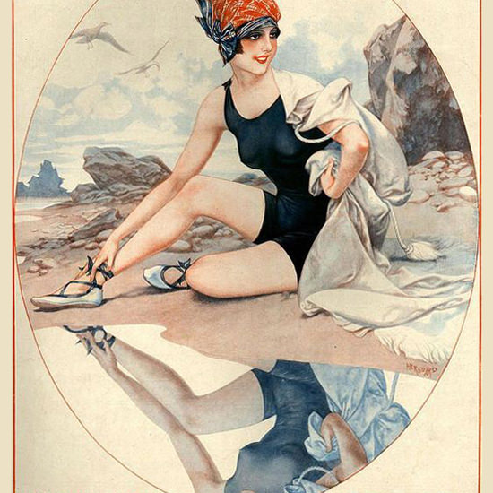 La Vie Parisienne 1927 Une Parisienne Reflechie Cheri Herouard crop | Best of Vintage Cover Art 1900-1970
