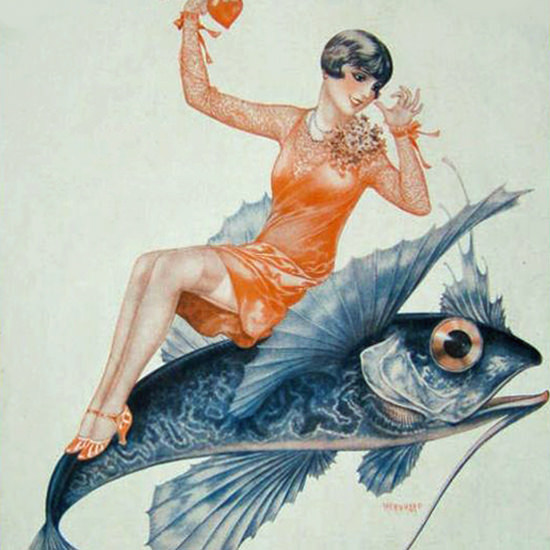 La Vie Parisienne 1928 La Peche Est Ouverte Cheri Herouard crop | Best of 1920s Ad and Cover Art