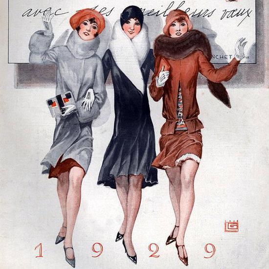 La Vie Parisienne 1928 Les Meilleurs Voeux 1929 Georges Leonnec crop | Best of Vintage Cover Art 1900-1970