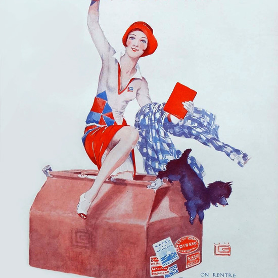 La Vie Parisienne 1929 Coucou On Rentre Georges Leonnec crop | Best of Vintage Cover Art 1900-1970