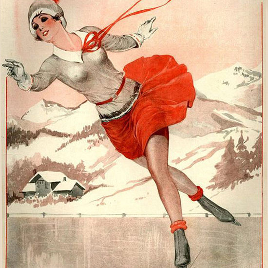 La Vie Parisienne 1929 La Reine Du Patin Georges Leonnec crop | Best of Vintage Cover Art 1900-1970