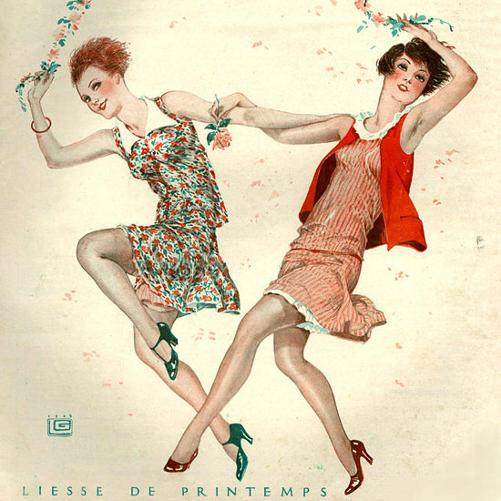 La Vie Parisienne 1929 Liesse De Printemps Georges Leonnec crop | Best of Vintage Cover Art 1900-1970