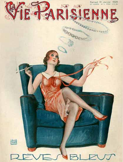La Vie Parisienne 1929 Reves Bleus Georges Leonnec   La Vie Parisienne Erotic Magazine Covers 1910-1939