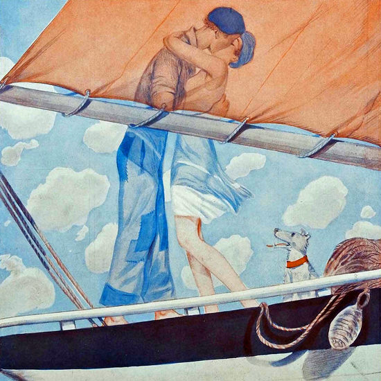 La Vie Parisienne 1930 La Voile Du Bonheur Georges Pavis crop | Best of Vintage Cover Art 1900-1970
