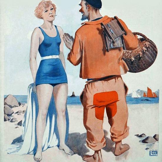 La Vie Parisienne 1930 Puisque Vous Fumez Georges Leonnec crop | Best of Vintage Cover Art 1900-1970
