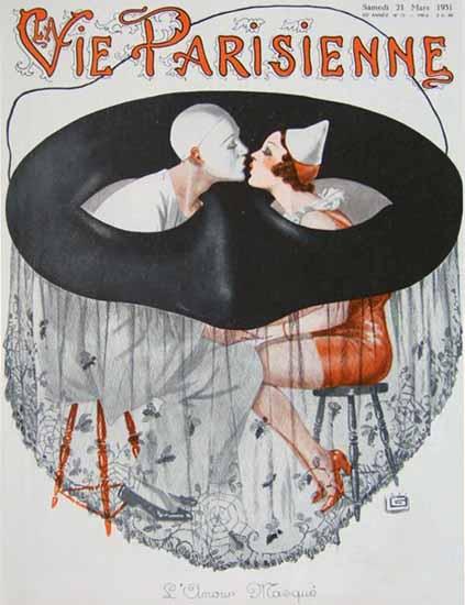 La Vie Parisienne 1931 L Amour Masque Georges Leonnec | La Vie Parisienne Erotic Magazine Covers 1910-1939