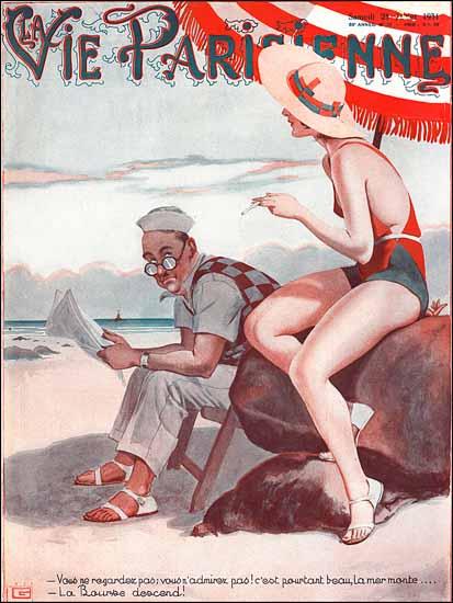 La Vie Parisienne 1931 La Mer Monte La Bourse Descend Sex Appeal   Sex Appeal Vintage Ads and Covers 1891-1970