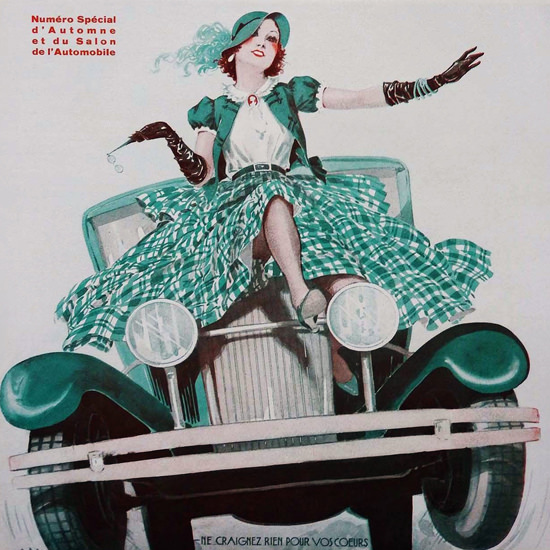 La Vie Parisienne 1931 Salon De L Automobile Georges Leonnec crop | Best of 1930s Ad and Cover Art