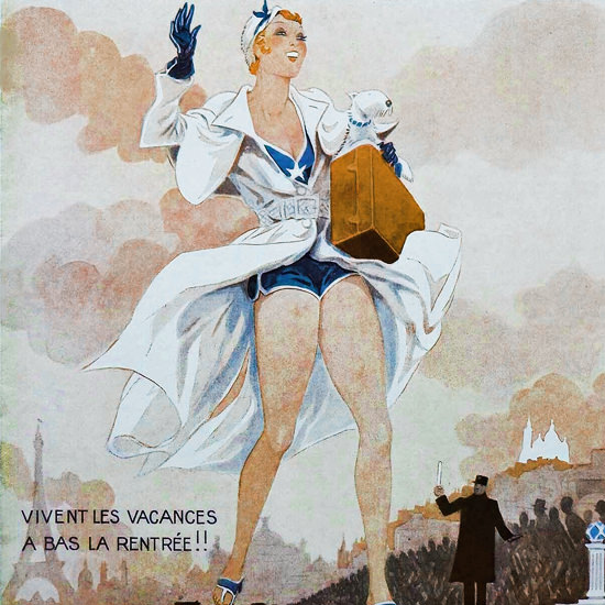 La Vie Parisienne 1931 Vivent Les Vacances Henry Fournier crop | Best of Vintage Cover Art 1900-1970