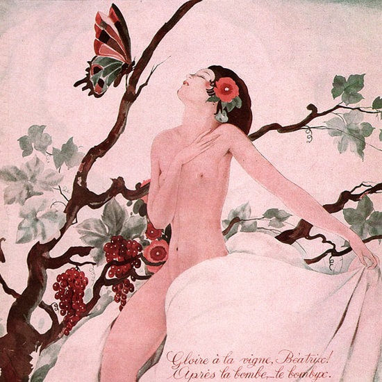 La Vie Parisienne 1932 A La Vigne Beatrice Umberto Brunelleschi crop | Best of Vintage Cover Art 1900-1970