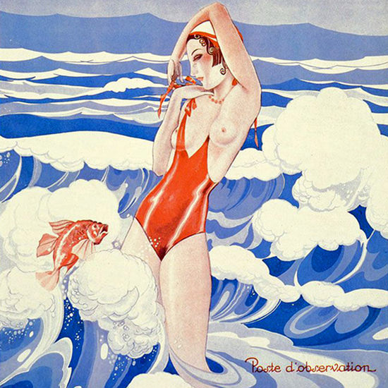 La Vie Parisienne 1932 Poste D Observation Umberto Brunelleschi crop | Best of Vintage Cover Art 1900-1970