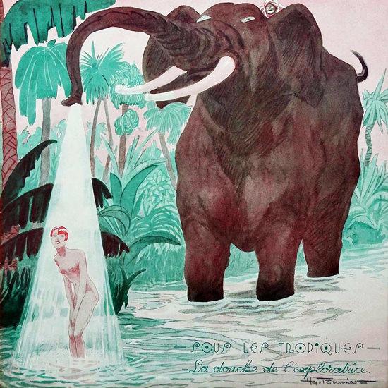 La Vie Parisienne 1932 Sous Les Tropiques Henry Fournier crop | Best of Vintage Cover Art 1900-1970