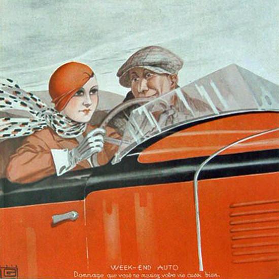 La Vie Parisienne 1932 Week-End Auto Georges Leonnec crop | Best of Vintage Cover Art 1900-1970