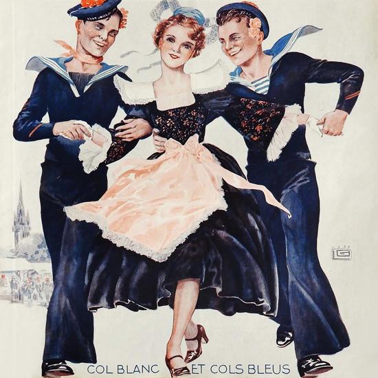 La Vie Parisienne 1933 Col Blanc Et Cols Bleus Georges Leonnec crop | Best of Vintage Cover Art 1900-1970