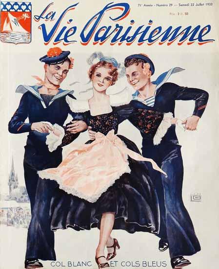 La Vie Parisienne 1933 Col Blanc Et Cols Bleus Georges Leonnec   La Vie Parisienne Erotic Magazine Covers 1910-1939