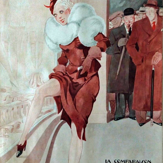 La Vie Parisienne 1933 La Comparaison Henry Fournier crop | Best of Vintage Cover Art 1900-1970