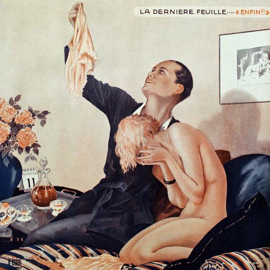 La Vie Parisienne 1933 La Derniere Feuille Georges Leonnec crop | Best of Vintage Cover Art 1900-1970