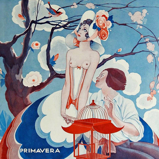 La Vie Parisienne 1933 Primavera Umberto Brunelleschi crop | Best of Vintage Cover Art 1900-1970