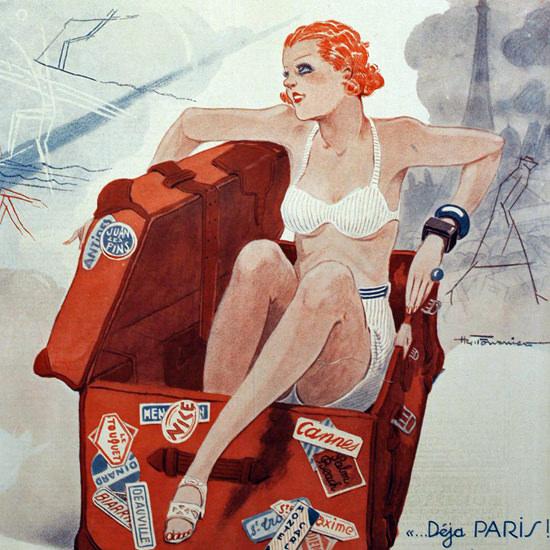 La Vie Parisienne 1933 Retour A L Envoyeur Henry Fournier crop | Best of 1930s Ad and Cover Art