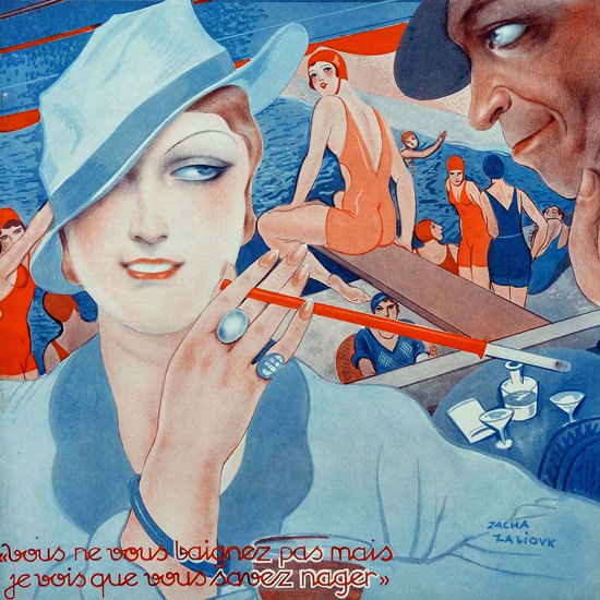La Vie Parisienne 1933 Vous Savez Nager Sacha Zaliouk crop | Best of 1930s Ad and Cover Art