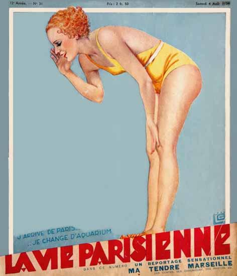 La Vie Parisienne 1934 J Arrive Georges Leonnec | La Vie Parisienne Erotic Magazine Covers 1910-1939