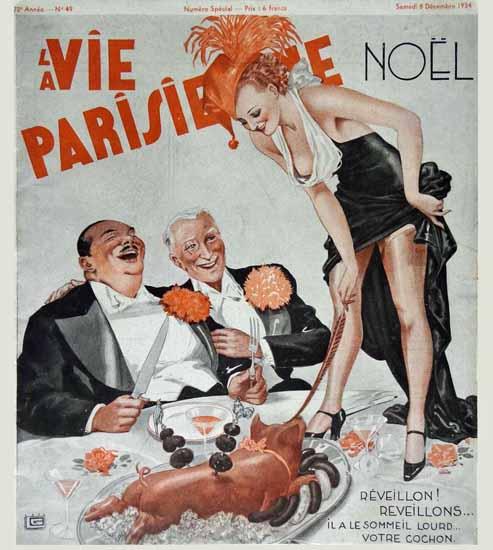 La Vie Parisienne 1934 Reveillon Georges Leonnec Sex Appeal | Sex Appeal Vintage Ads and Covers 1891-1970