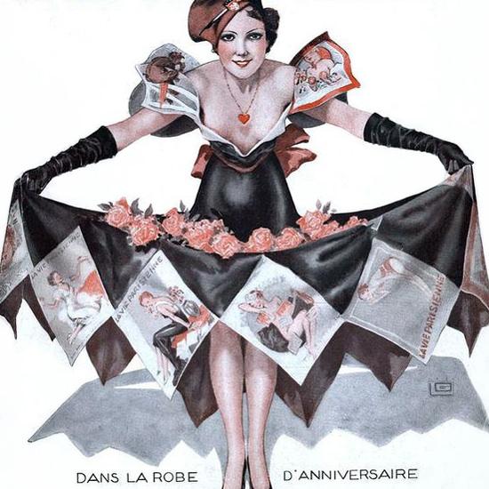 La Vie Parisienne 1935 La Robe D Anniversaire Georges Leonnec crop | Best of Vintage Cover Art 1900-1970