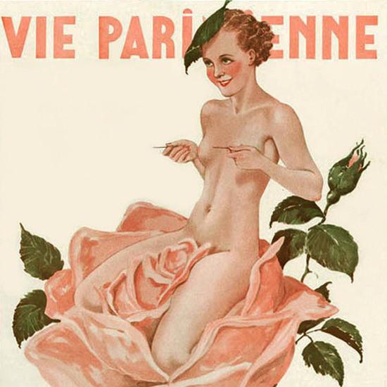 La Vie Parisienne 1935 La Rose Bien Defendue Georges Leonnec crop   Best of 1930s Ad and Cover Art