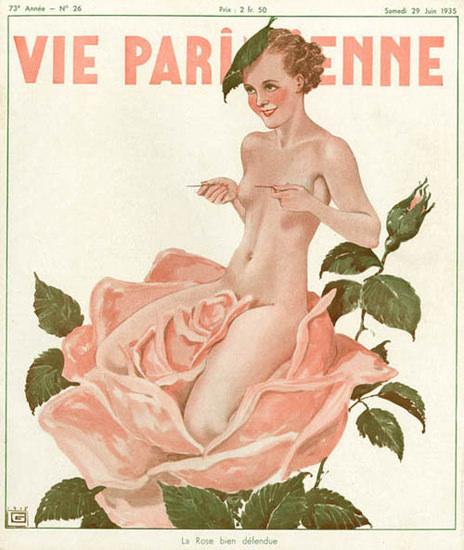 La Vie Parisienne 1935 Nude Rose Bien Defendue | Sex Appeal Vintage Ads and Covers 1891-1970