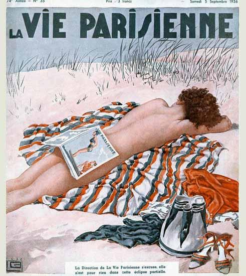 La Vie Parisienne 1936 Eclipse Partielle Georges Leonnec | La Vie Parisienne Erotic Magazine Covers 1910-1939