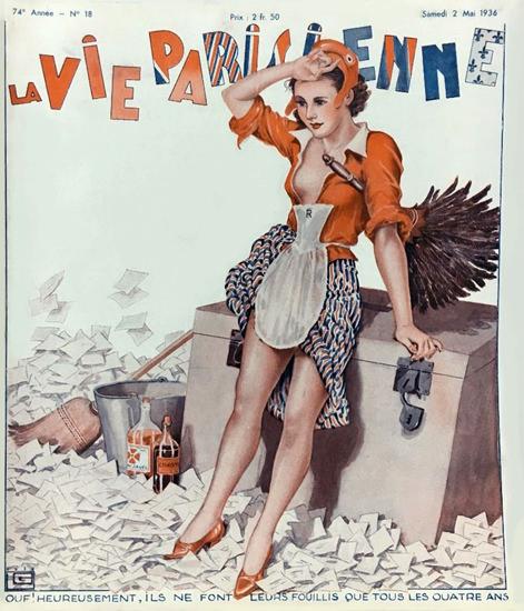 La Vie Parisienne 1936 Tous Les Quatre Ans Georges Leonnec Sex Appeal | Sex Appeal Vintage Ads and Covers 1891-1970