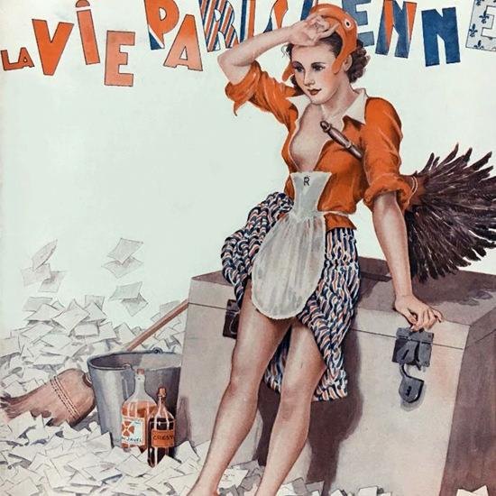 La Vie Parisienne 1936 Tous Les Quatre Ans Georges Leonnec crop | Best of Vintage Cover Art 1900-1970