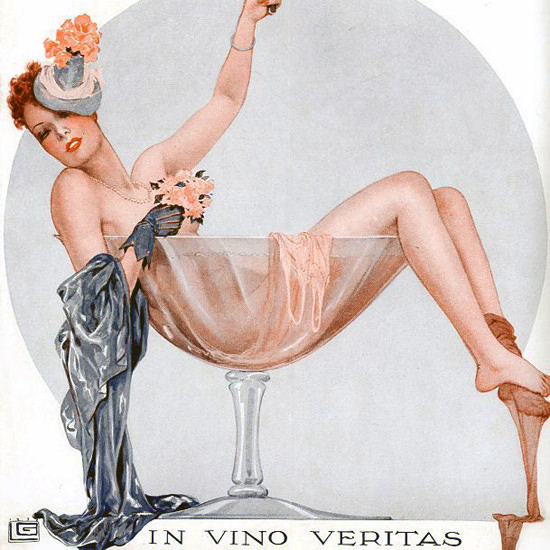 La Vie Parisienne 1939 In Vino Veritas Georges Leonnec crop | Best of Vintage Cover Art 1900-1970